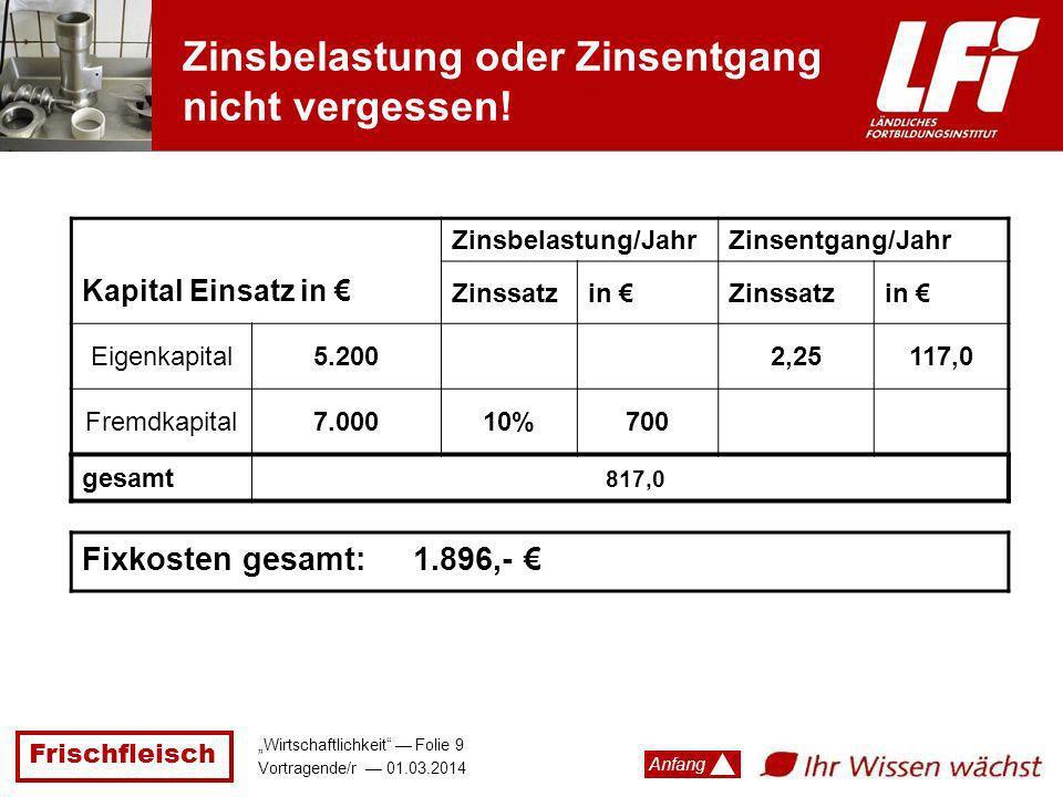 Frischfleisch Wirtschaftlichkeit Folie 9 Vortragende/r 01.03.2014 Anfang Kapital Einsatz in Zinsbelastung/JahrZinsentgang/Jahr Zinssatzin Zinssatzin E