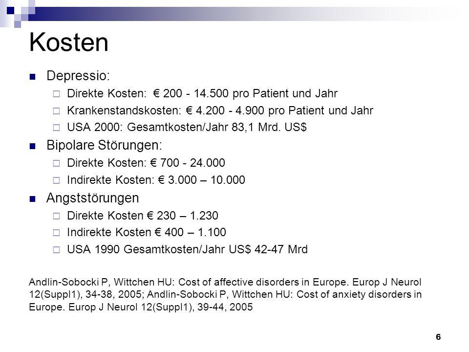 Kosten Depressio: Direkte Kosten: 200 - 14.500 pro Patient und Jahr Krankenstandskosten: 4.200 - 4.900 pro Patient und Jahr USA 2000: Gesamtkosten/Jah