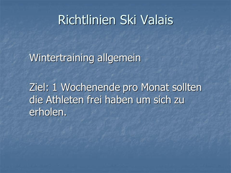 Richtlinien Ski Valais Wintertraining allgemein Ziel: 1 Wochenende pro Monat sollten die Athleten frei haben um sich zu erholen.