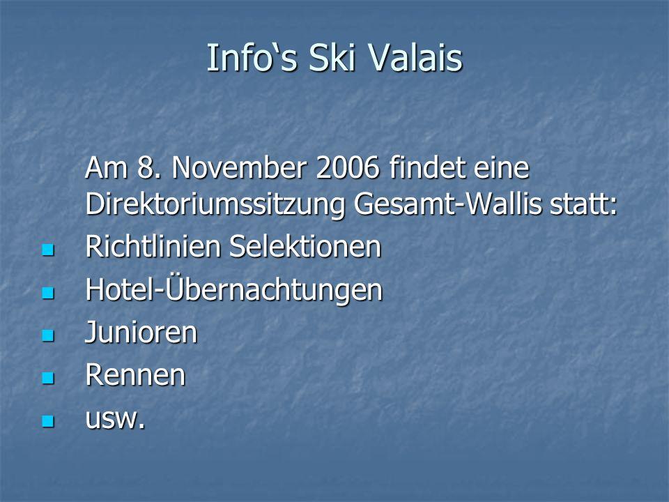 Infos Ski Valais Am 8. November 2006 findet eine Direktoriumssitzung Gesamt-Wallis statt: Richtlinien Selektionen Richtlinien Selektionen Hotel-Überna