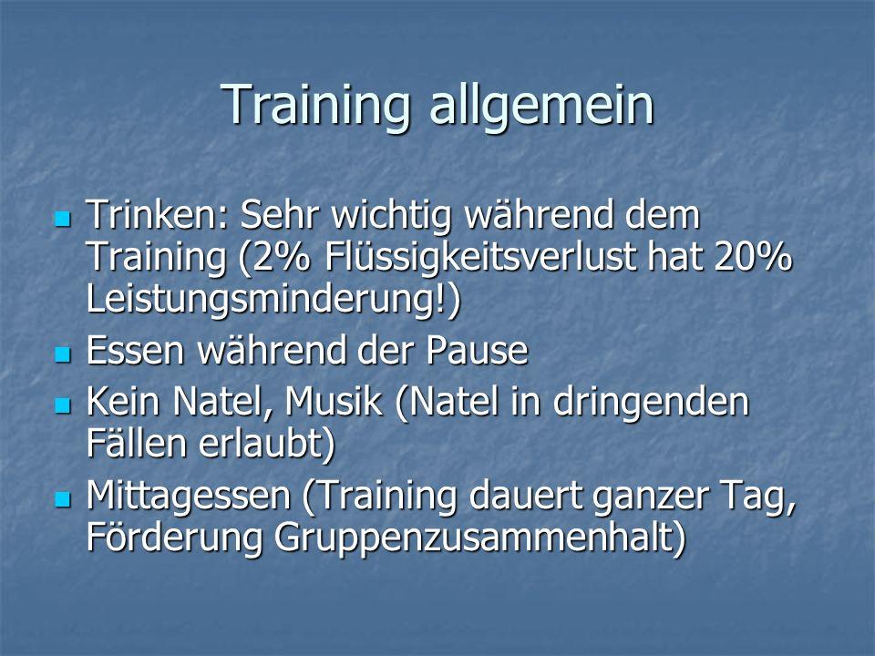 Training allgemein Trinken: Sehr wichtig während dem Training (2% Flüssigkeitsverlust hat 20% Leistungsminderung!) Trinken: Sehr wichtig während dem T