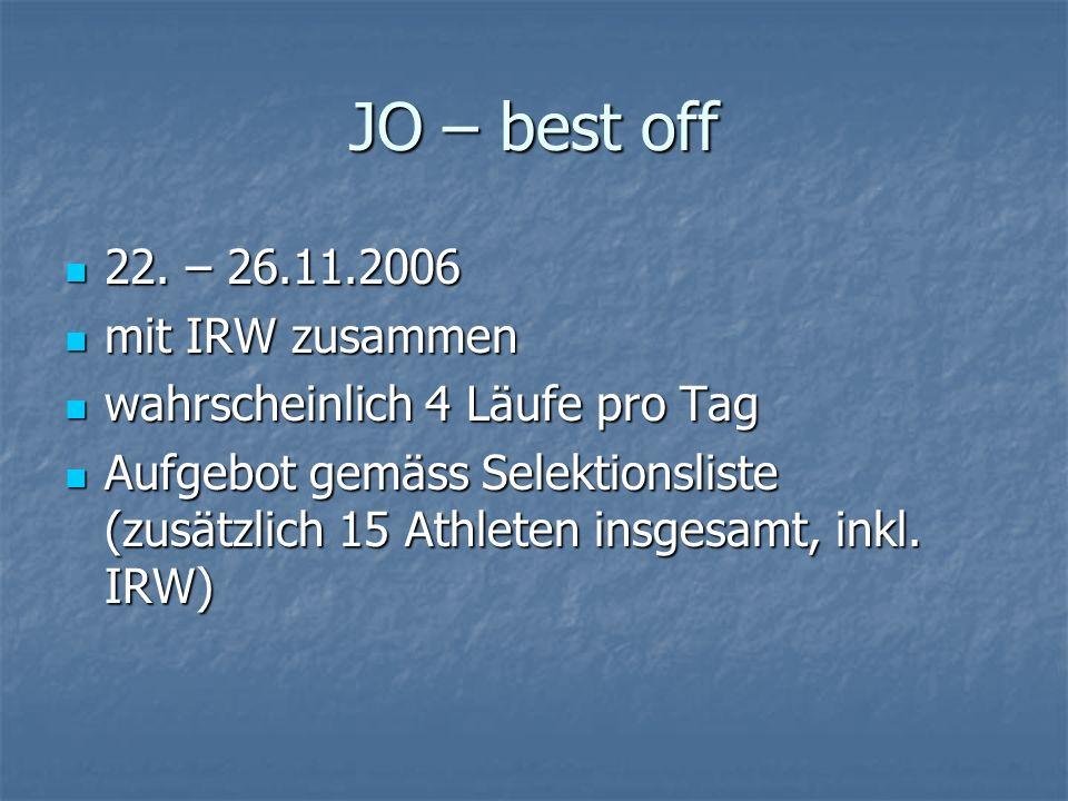JO – best off 22. – 26.11.2006 22. – 26.11.2006 mit IRW zusammen mit IRW zusammen wahrscheinlich 4 Läufe pro Tag wahrscheinlich 4 Läufe pro Tag Aufgeb