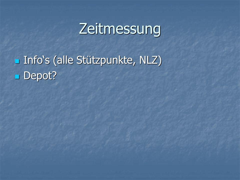 Zeitmessung Infos (alle Stützpunkte, NLZ) Infos (alle Stützpunkte, NLZ) Depot? Depot?