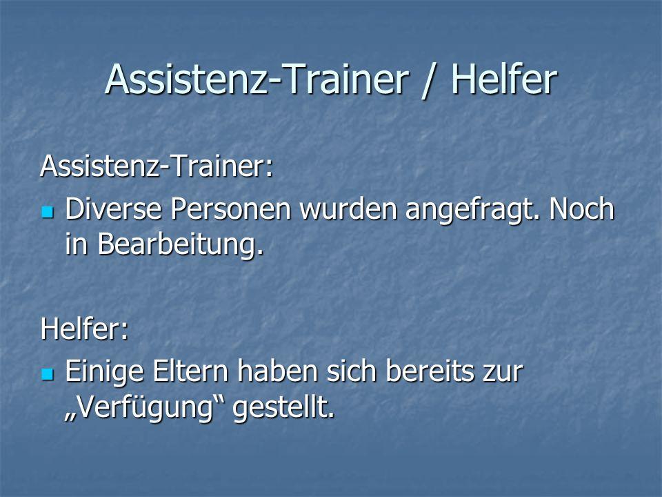 Assistenz-Trainer / Helfer Assistenz-Trainer: Diverse Personen wurden angefragt. Noch in Bearbeitung. Diverse Personen wurden angefragt. Noch in Bearb