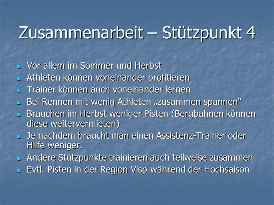 Zusammenarbeit – Stützpunkt 4 Vor allem im Sommer und Herbst Vor allem im Sommer und Herbst Athleten können voneinander profitieren Athleten können vo