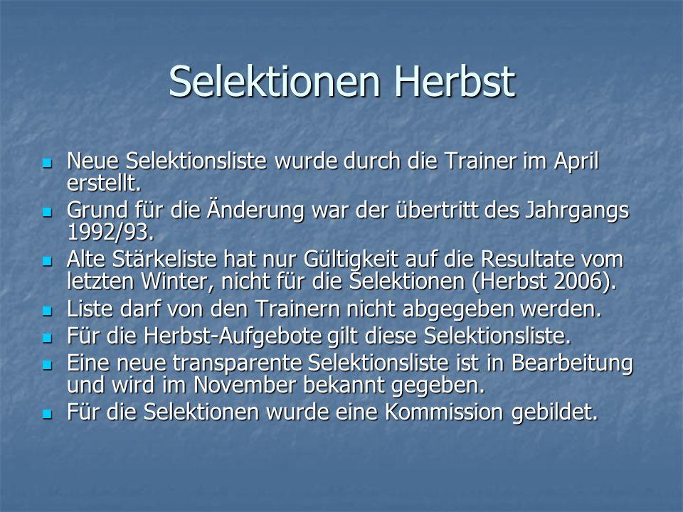 Selektionen Herbst Neue Selektionsliste wurde durch die Trainer im April erstellt. Neue Selektionsliste wurde durch die Trainer im April erstellt. Gru