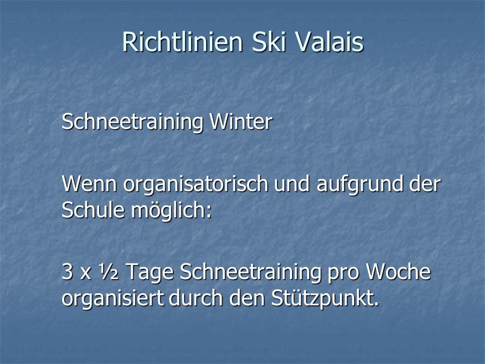 Richtlinien Ski Valais Schneetraining Winter Wenn organisatorisch und aufgrund der Schule möglich: 3 x ½ Tage Schneetraining pro Woche organisiert dur
