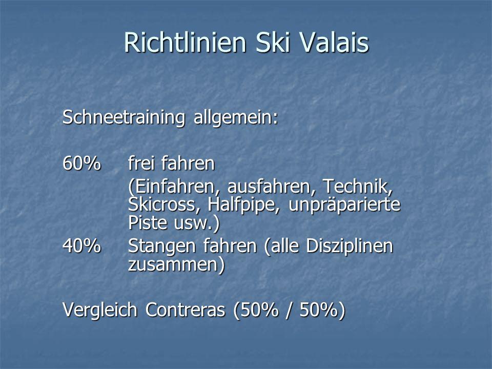 Richtlinien Ski Valais Schneetraining allgemein: 60%frei fahren (Einfahren, ausfahren, Technik, Skicross, Halfpipe, unpräparierte Piste usw.) 40%Stang