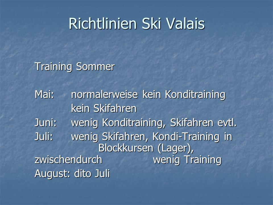 Richtlinien Ski Valais Training Sommer Mai: normalerweise kein Konditraining kein Skifahren Juni: wenig Konditraining, Skifahren evtl. Juli: wenig Ski