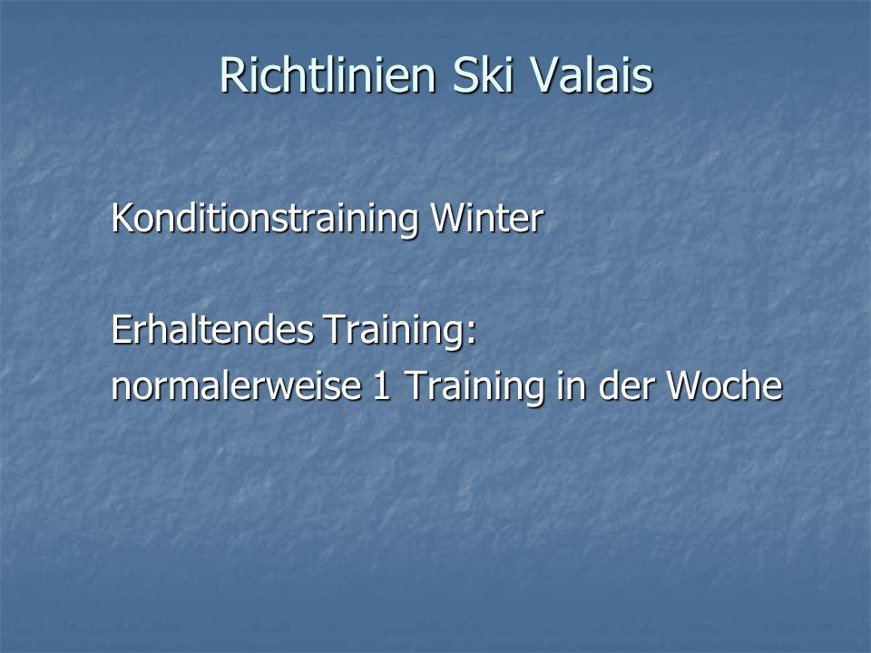 Richtlinien Ski Valais Konditionstraining Winter Erhaltendes Training: normalerweise 1 Training in der Woche