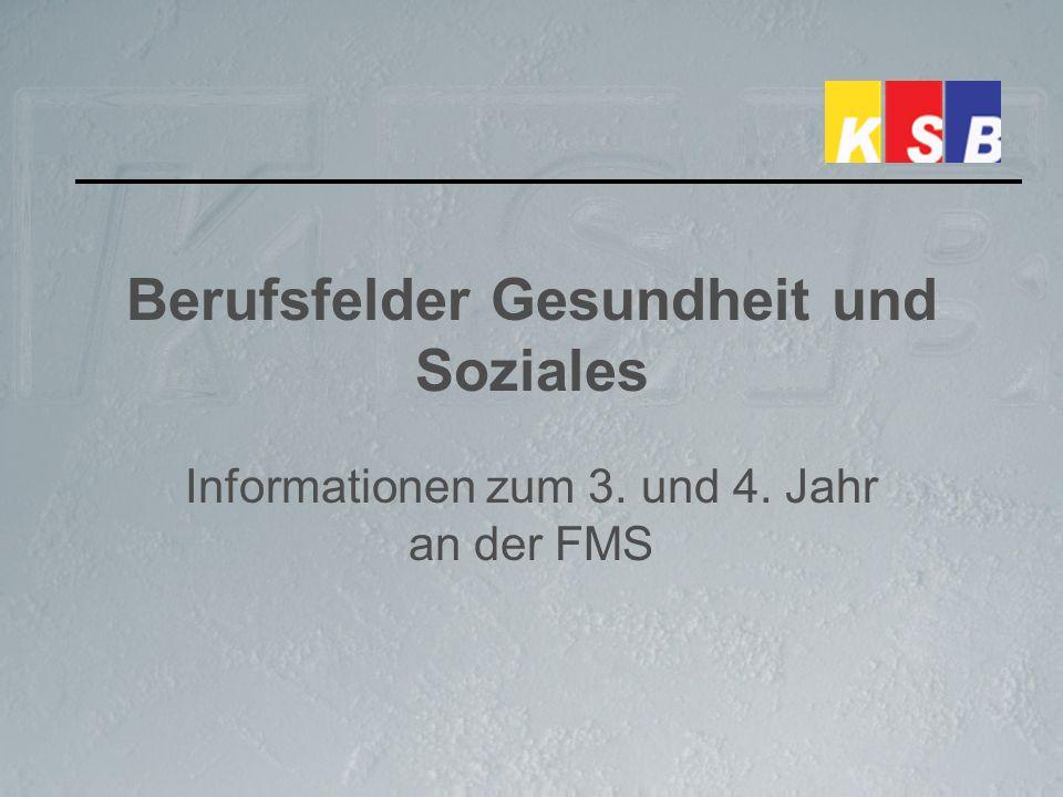 Berufsfelder Gesundheit und Soziales Informationen zum 3. und 4. Jahr an der FMS