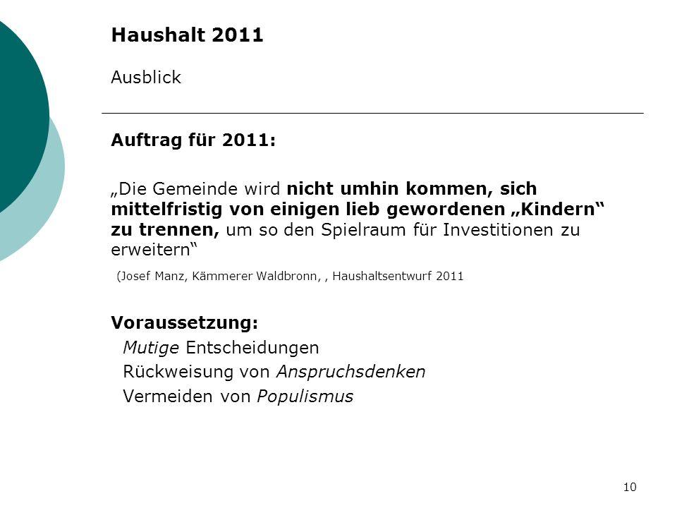 Haushalt 2011 Ausblick Auftrag für 2011: Die Gemeinde wird nicht umhin kommen, sich mittelfristig von einigen lieb gewordenen Kindern zu trennen, um s