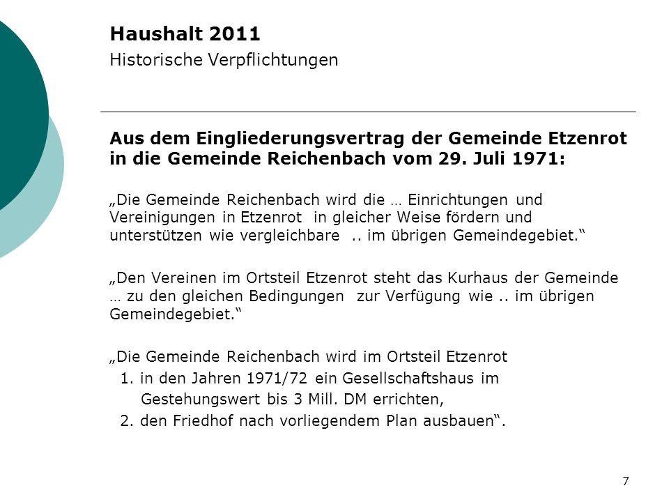 Haushalt 2011 Historische Verpflichtungen Aus dem Eingliederungsvertrag der Gemeinde Etzenrot in die Gemeinde Reichenbach vom 29. Juli 1971: Die Gemei