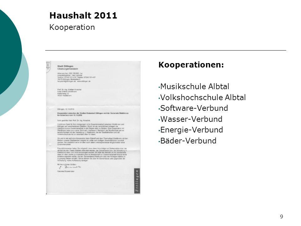 Haushalt 2011 Kooperation Kooperationen: Musikschule Albtal Volkshochschule Albtal Software-Verbund Wasser-Verbund Energie-Verbund Bäder-Verbund 9