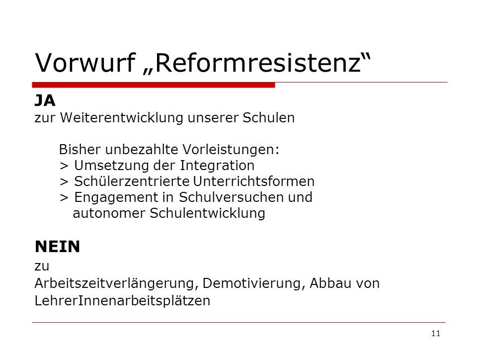 11 Vorwurf Reformresistenz JA zur Weiterentwicklung unserer Schulen Bisher unbezahlte Vorleistungen: > Umsetzung der Integration > Schülerzentrierte U