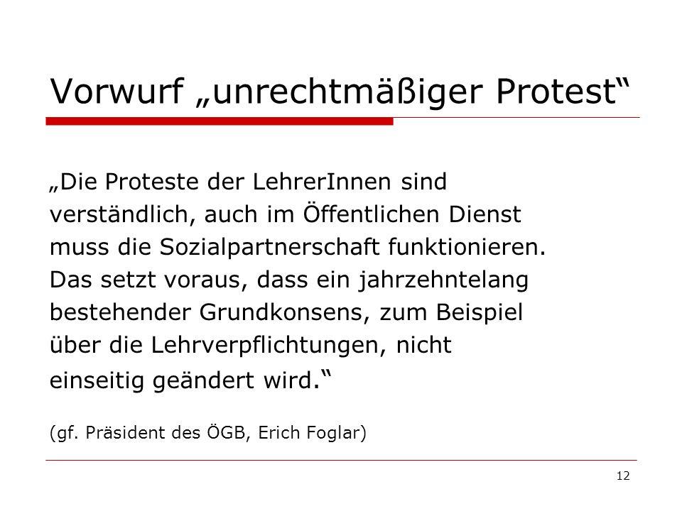 12 Vorwurf unrechtmäßiger Protest Die Proteste der LehrerInnen sind verständlich, auch im Öffentlichen Dienst muss die Sozialpartnerschaft funktionier