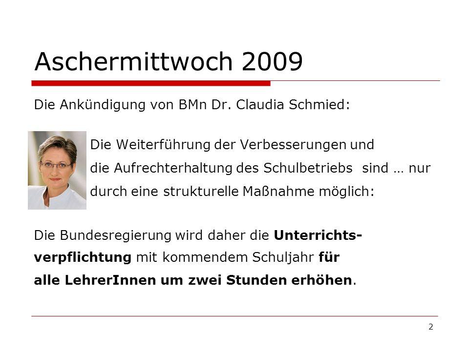 2 Aschermittwoch 2009 Die Ankündigung von BMn Dr. Claudia Schmied: Die Weiterführung der Verbesserungen und die Aufrechterhaltung des Schulbetriebs si