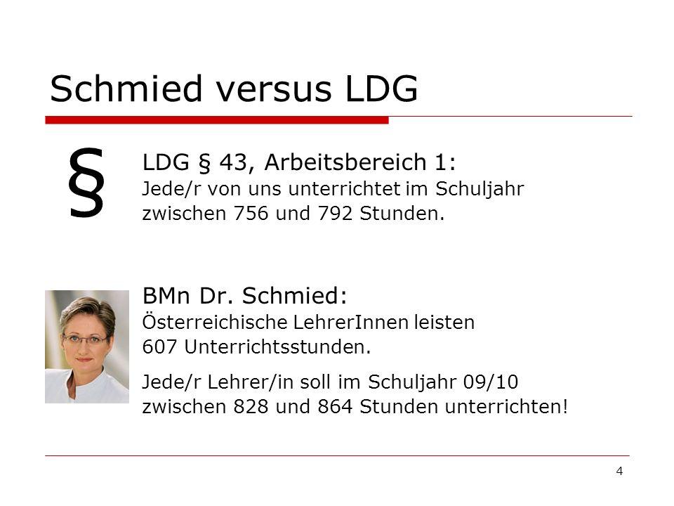 4 Schmied versus LDG LDG § 43, Arbeitsbereich 1: Jede/r von uns unterrichtet im Schuljahr zwischen 756 und 792 Stunden. BMn Dr. Schmied: Österreichisc