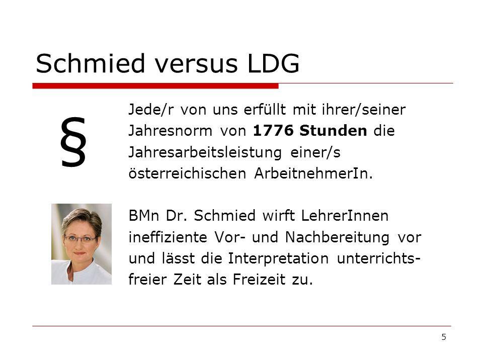 5 Schmied versus LDG Jede/r von uns erfüllt mit ihrer/seiner Jahresnorm von 1776 Stunden die Jahresarbeitsleistung einer/s österreichischen Arbeitnehm