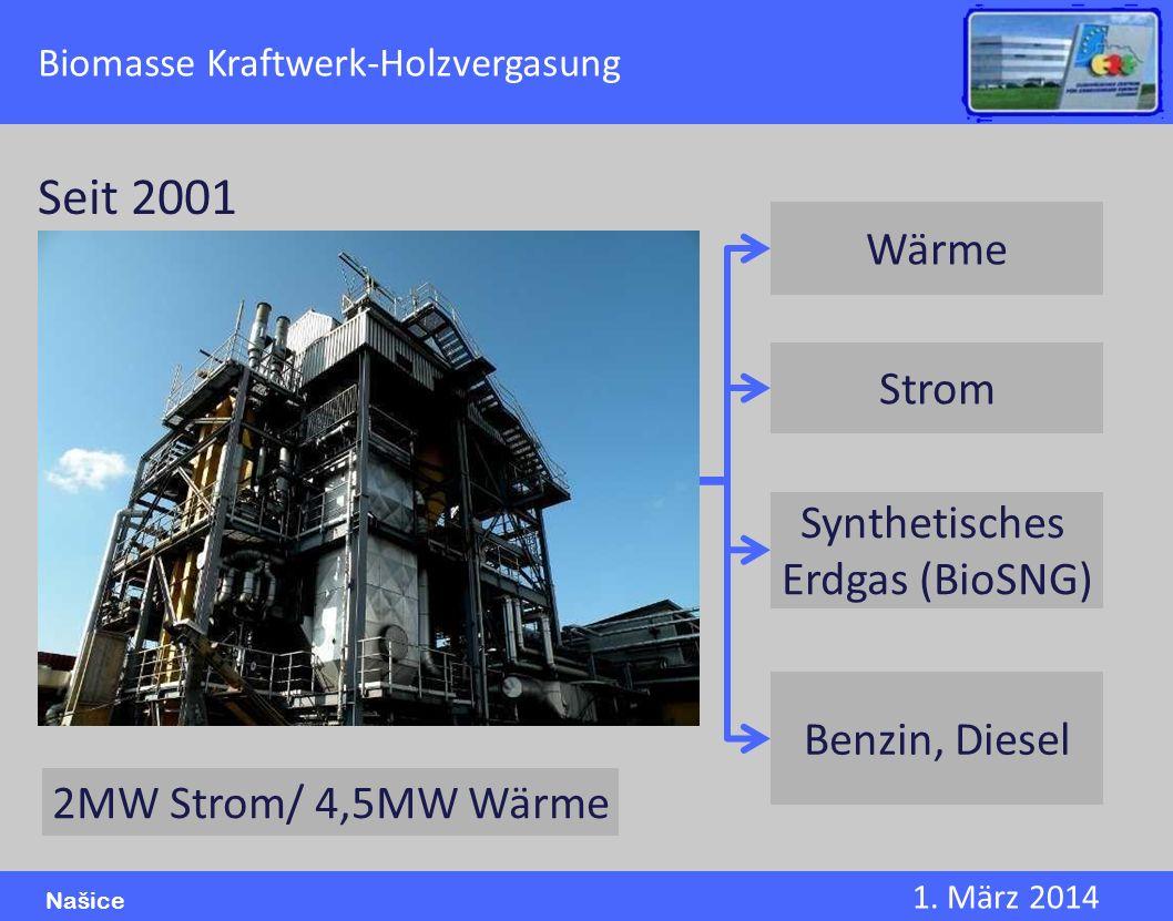 1. März 2014 Našice Biomasse Kraftwerk-Holzvergasung Wärme Strom Synthetisches Erdgas (BioSNG) Benzin, Diesel Seit 2001 2MW Strom/ 4,5MW Wärme