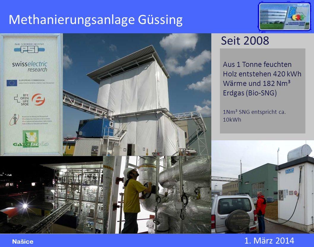 1. März 2014 Našice Methanierungsanlage Güssing Aus 1 Tonne feuchten Holz entstehen 420 kWh Wärme und 182 Nm³ Erdgas (Bio-SNG) 1Nm³ SNG entspricht ca.