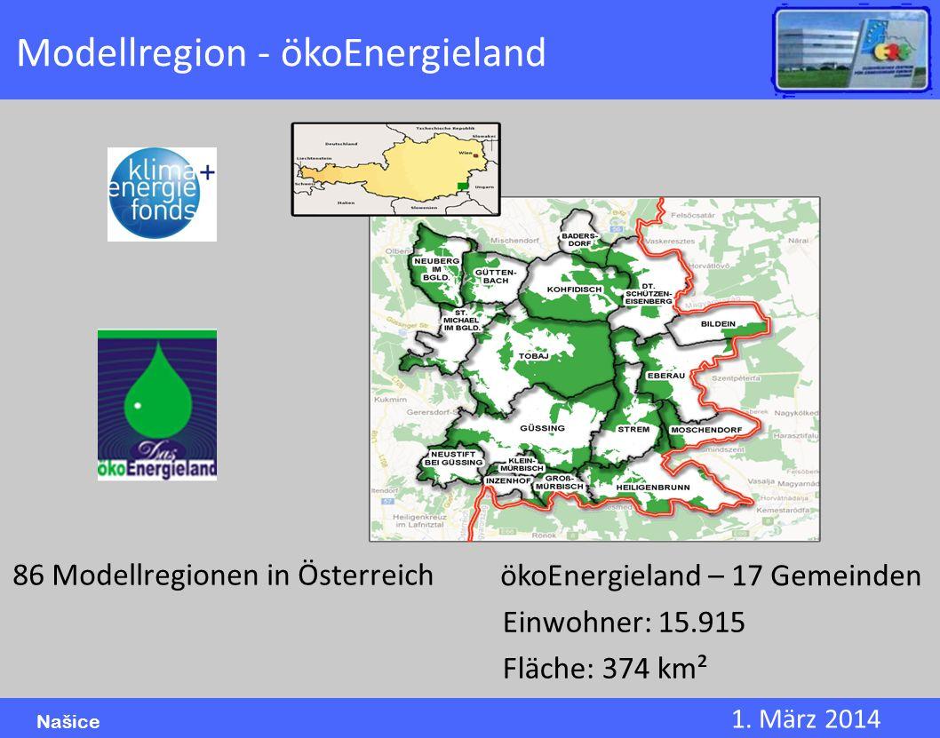 1. März 2014 Našice Modellregion - ökoEnergieland 86 Modellregionen in Österreich ökoEnergieland – 17 Gemeinden Einwohner: 15.915 Fläche: 374 km²