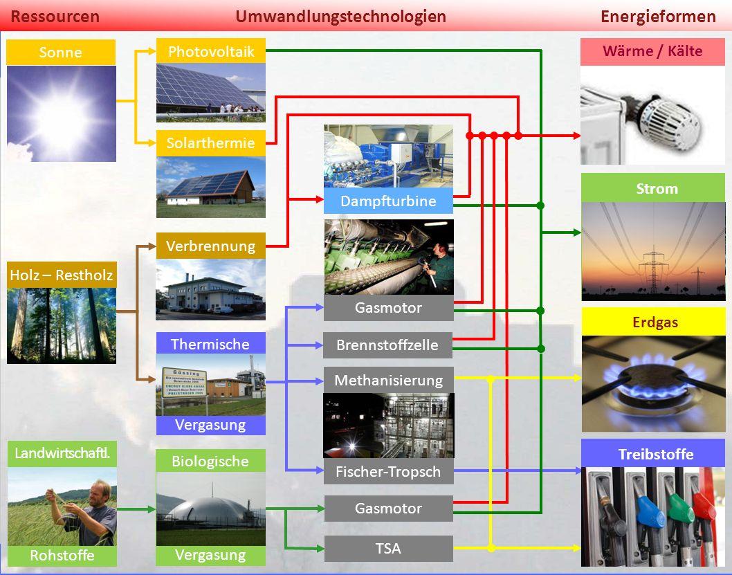 1. März 2014 Našice RessourcenUmwandlungstechnologienEnergieformen Thermische Vergasung Methanisierung Biologische Vergasung TSA Treibstoffe WÄRME / K