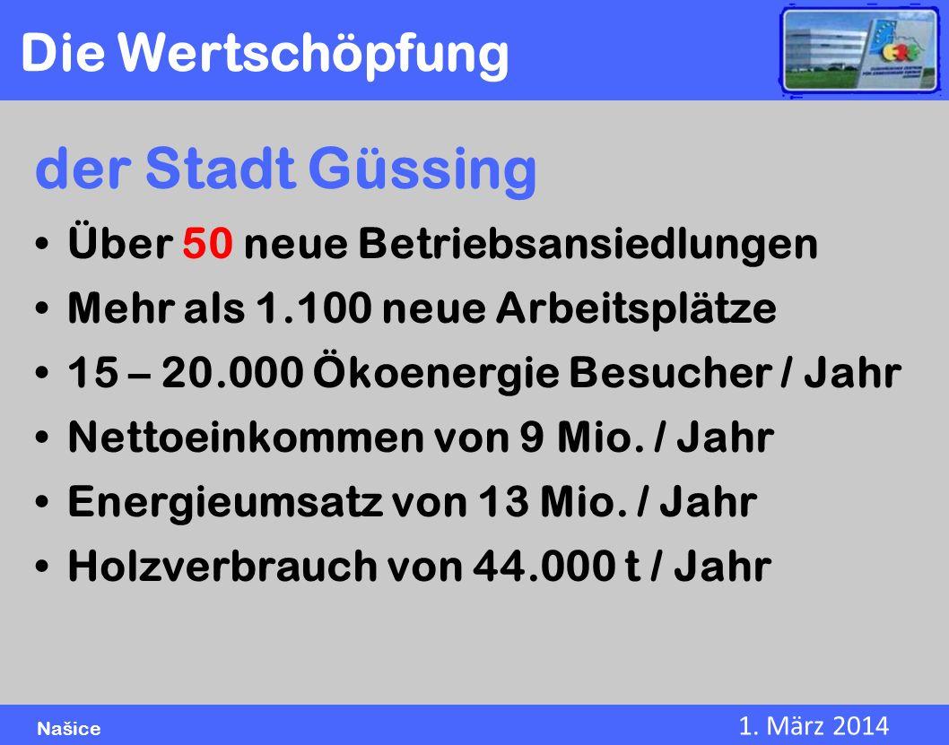 1. März 2014 Našice der Stadt Güssing Über 50 neue Betriebsansiedlungen Mehr als 1.100 neue Arbeitsplätze 15 – 20.000 Ökoenergie Besucher / Jahr Netto