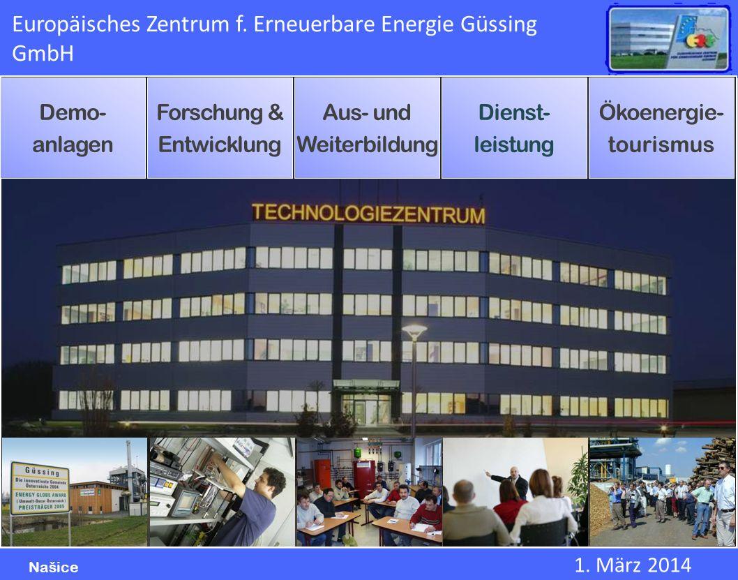 1. März 2014 Našice Europäisches Zentrum f. Erneuerbare Energie Güssing GmbH Demo- anlagen Forschung & Entwicklung Aus- und Weiterbildung Dienst- leis