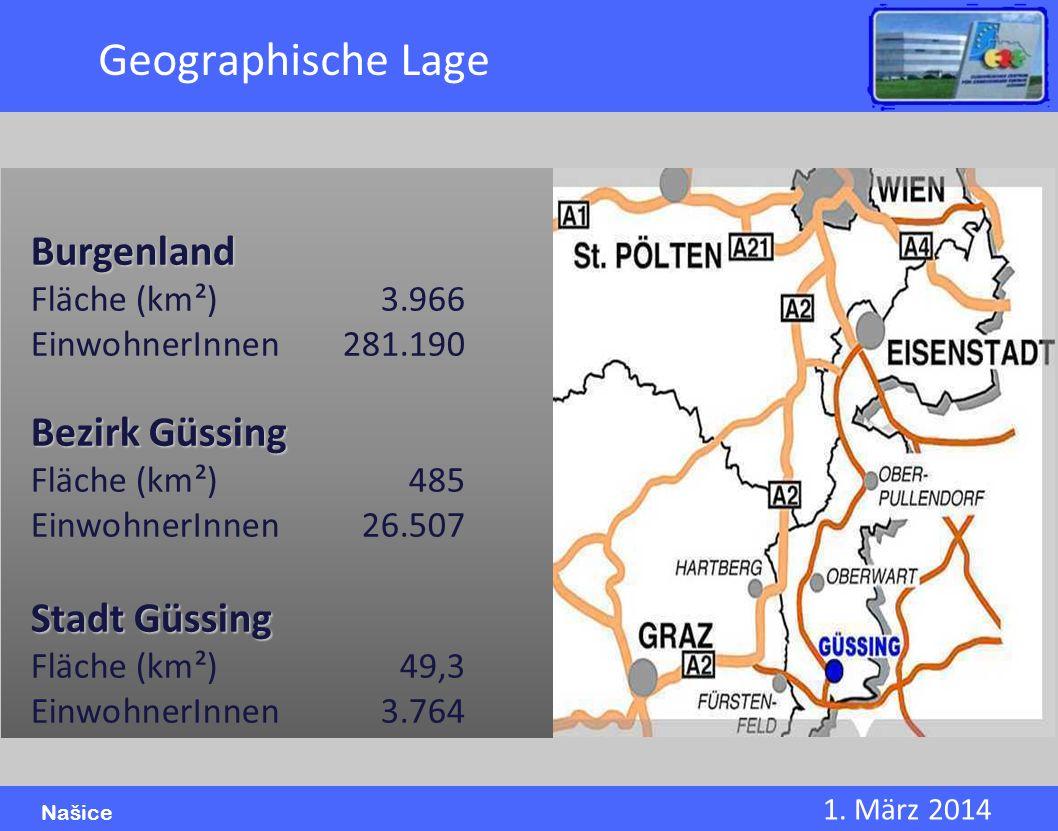 1. März 2014 Našice Geographische Lage Burgenland Fläche (km²)3.966 EinwohnerInnen281.190 Bezirk Güssing Fläche (km²)485 EinwohnerInnen26.507 Stadt Gü
