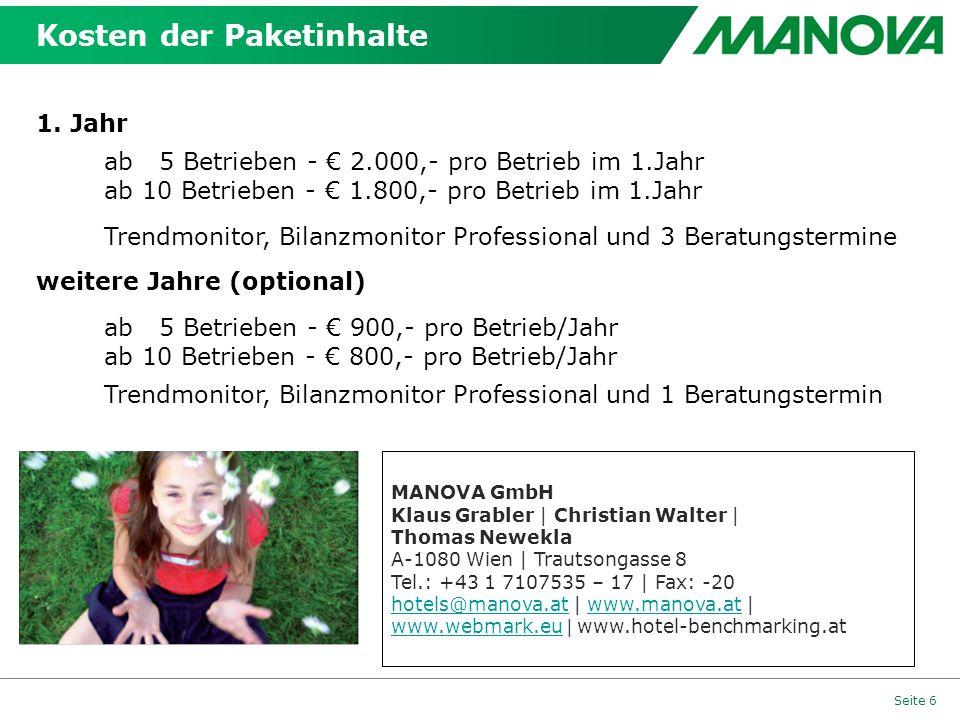 Seite 6 Kosten der Paketinhalte MANOVA GmbH Klaus Grabler | Christian Walter | Thomas Newekla A-1080 Wien | Trautsongasse 8 Tel.: +43 1 7107535 – 17 |