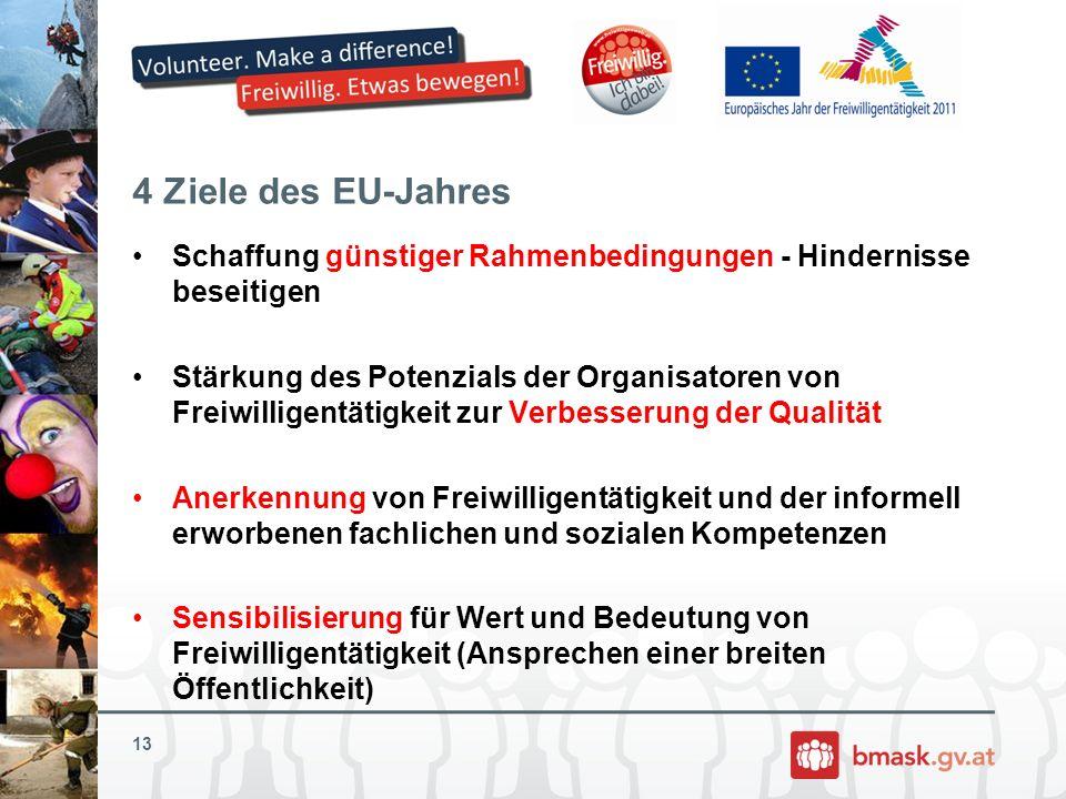 4 Ziele des EU-Jahres Schaffung günstiger Rahmenbedingungen - Hindernisse beseitigen Stärkung des Potenzials der Organisatoren von Freiwilligentätigke