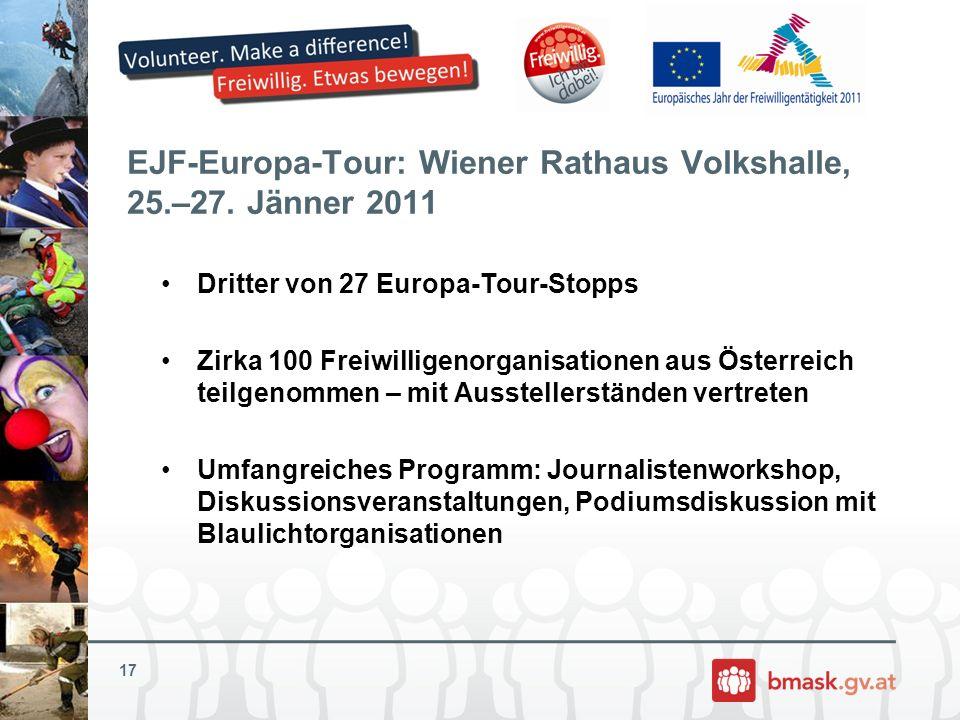 EJF-Europa-Tour: Wiener Rathaus Volkshalle, 25.–27. Jänner 2011 Dritter von 27 Europa-Tour-Stopps Zirka 100 Freiwilligenorganisationen aus Österreich