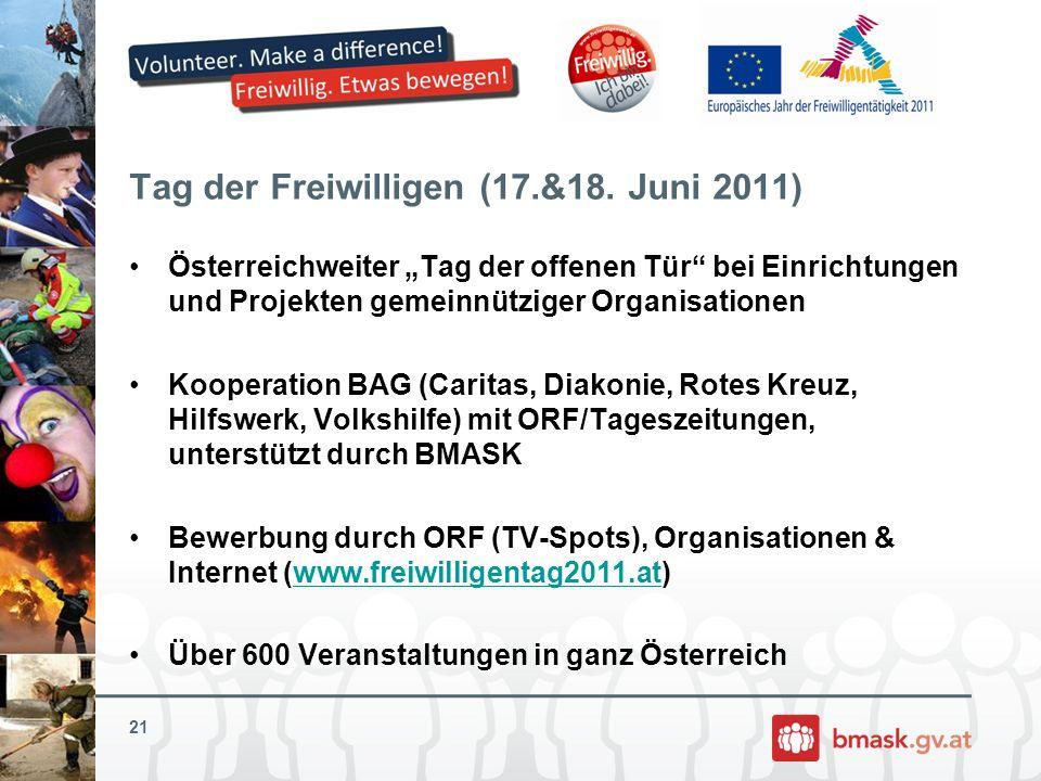 Tag der Freiwilligen (17.&18. Juni 2011) Österreichweiter Tag der offenen Tür bei Einrichtungen und Projekten gemeinnütziger Organisationen Kooperatio