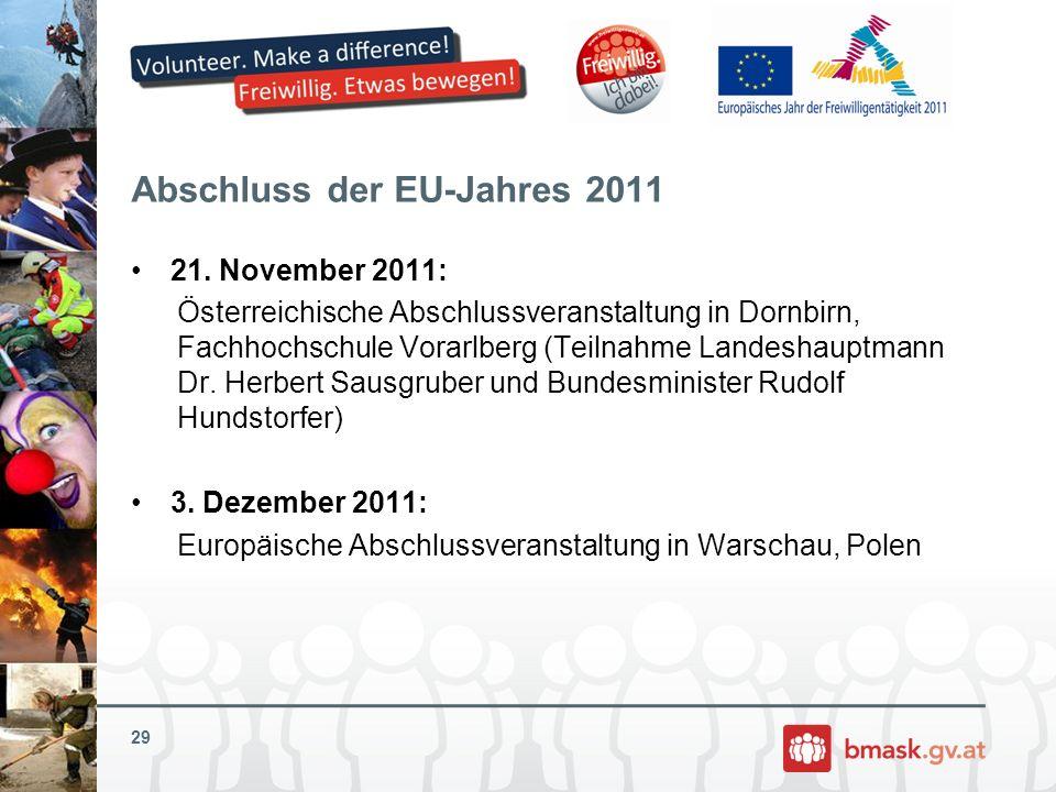 Abschluss der EU-Jahres 2011 21. November 2011: Österreichische Abschlussveranstaltung in Dornbirn, Fachhochschule Vorarlberg (Teilnahme Landeshauptma