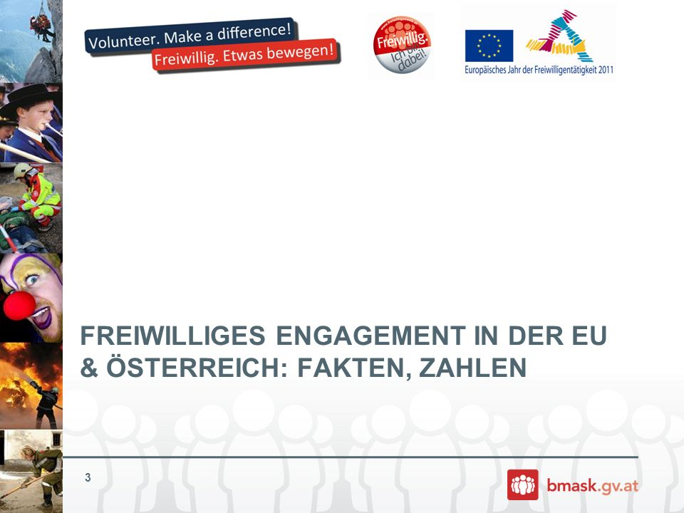 EU-Jahr in Österreich Grundlage: Nationales Arbeitsprogramm Zentrales Gremium: Nationaler Lenkungsausschuss mit Vorsitz BMASK (Koordination mit Brüssel; Erarbeitung, Umsetzung und Begleitung des Nationalen Arbeitsprogrammes – bisher 5 Sitzungen) Im Nationalen Arbeitsprogramm sind die Nationalen Prioritäten festgelegt (diese spiegeln auch die Ziele des EU-Jahres wider) Finanzierung: 9 Mio.