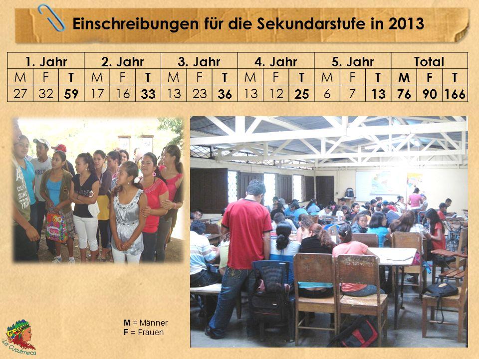 Einschreibungen für die Sekundarstufe in 2013 1. Jahr2.
