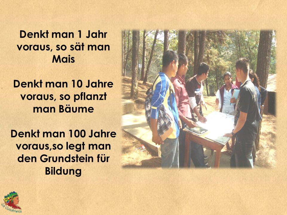 Denkt man 1 Jahr voraus, so sät man Mais Denkt man 10 Jahre voraus, so pflanzt man Bäume Denkt man 100 Jahre voraus,so legt man den Grundstein für Bildung
