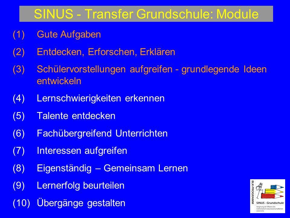 SINUS - Transfer Grundschule: Module (1)Gute Aufgaben (2) Entdecken, Erforschen, Erklären (3) Schülervorstellungen aufgreifen - grundlegende Ideen ent