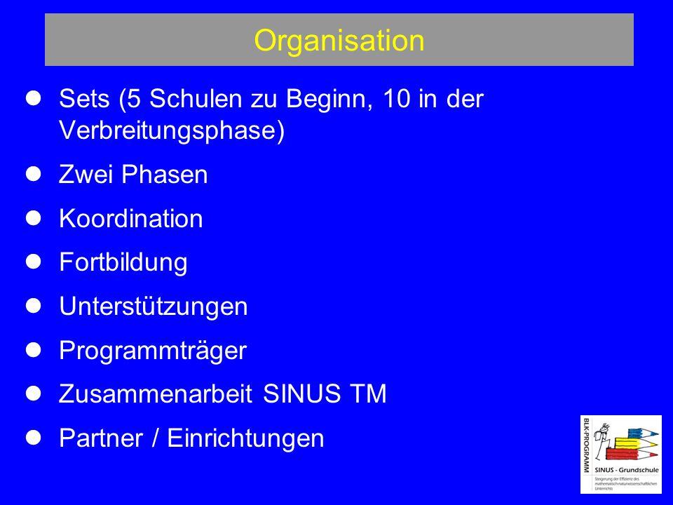 Organisation Sets (5 Schulen zu Beginn, 10 in der Verbreitungsphase) Zwei Phasen Koordination Fortbildung Unterstützungen Programmträger Zusammenarbeit SINUS TM Partner / Einrichtungen