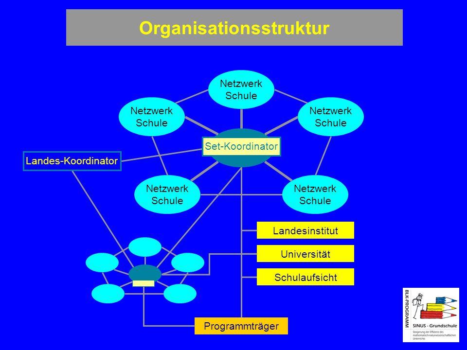Organisationsstruktur Landes-Koordinator Programmträger Netzwerk Schule Netzwerk Schule Netzwerk Schule Netzwerk Schule Netzwerk Schule Landesinstitut Universität Schulaufsicht Set-Koordinator