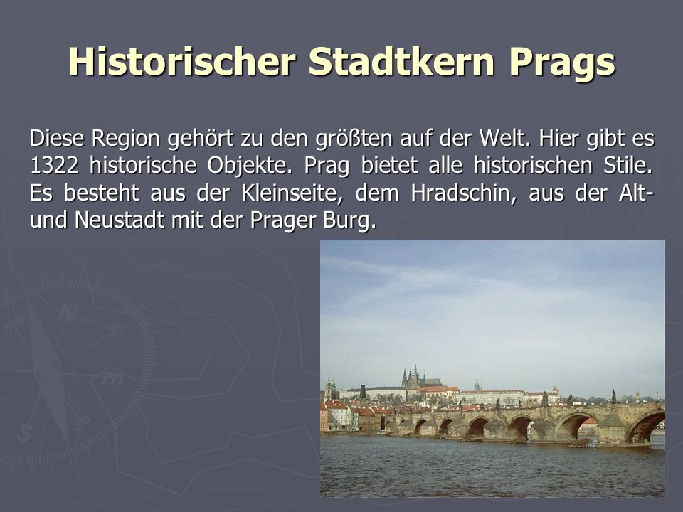 Historischer Stadtkern Prags Diese Region gehört zu den größten auf der Welt.