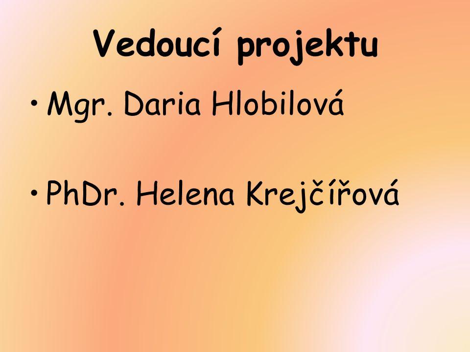 Vedoucí projektu Mgr. Daria Hlobilová PhDr. Helena Krejčířová