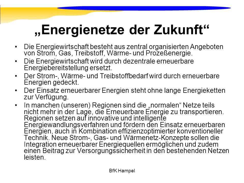 BfK Hampel Energienetze der Zukunft Die Energiewirtschaft besteht aus zentral organisierten Angeboten von Strom, Gas, Treibstoff, Wärme- und Prozeßene