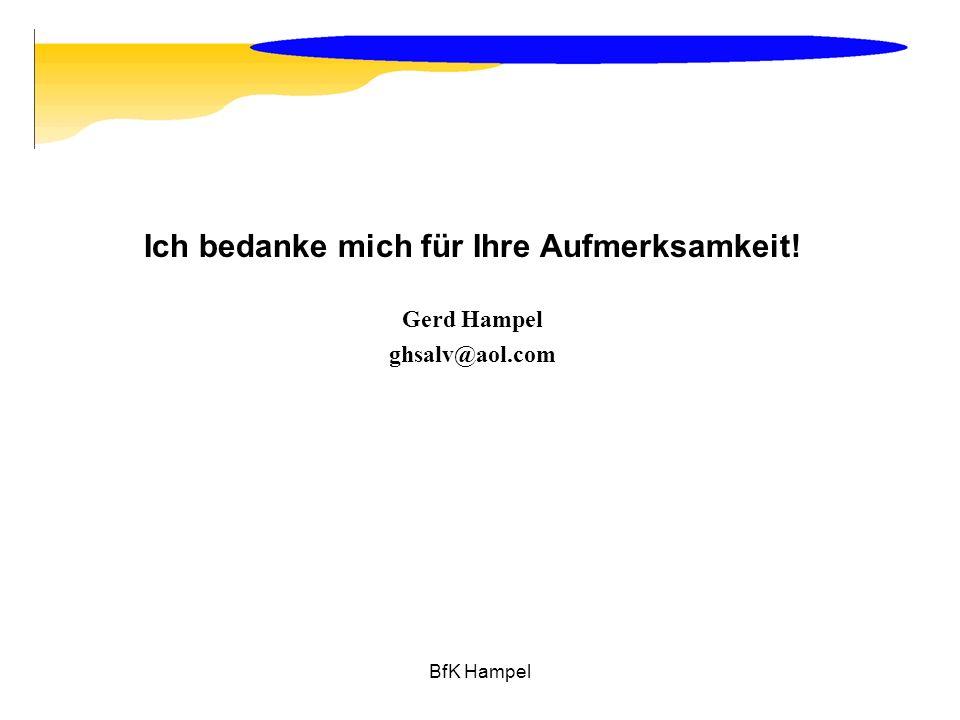 BfK Hampel Ich bedanke mich für Ihre Aufmerksamkeit! Gerd Hampel ghsalv@aol.com