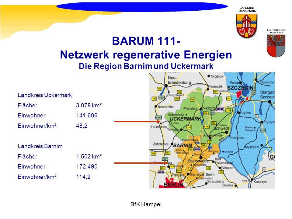 BfK Hampel BARUM 111- Netzwerk regenerative Energien Die Region Barnim und Uckermark Landkreis Uckermark Fläche: 3.078 km² Einwohner: 141.606 Einwohne