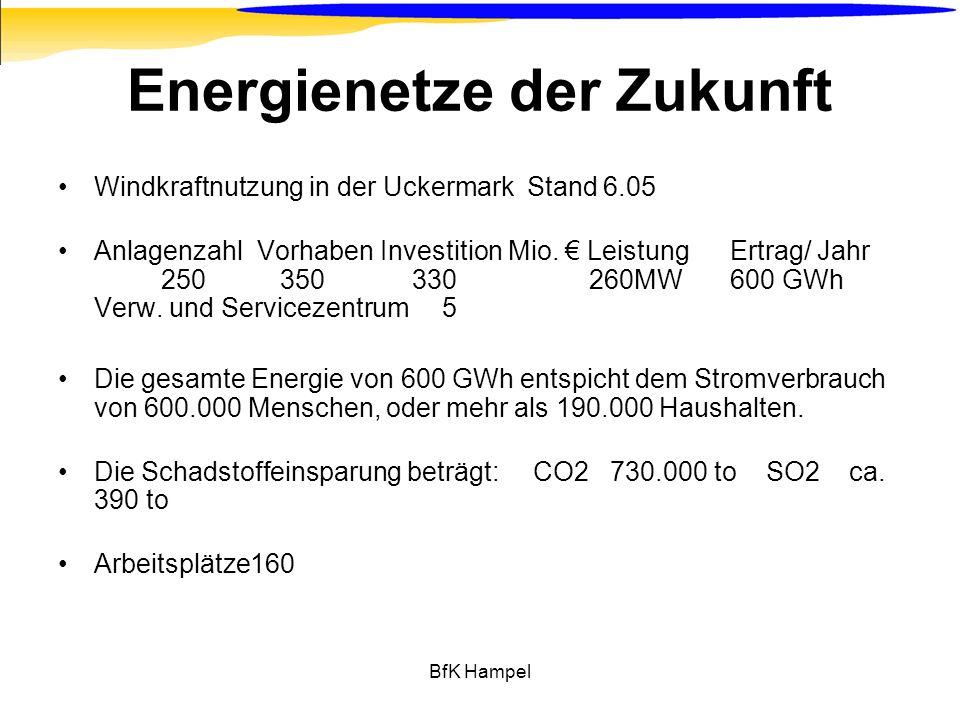 BfK Hampel Energienetze der Zukunft Windkraftnutzung in der Uckermark Stand 6.05 Anlagenzahl Vorhaben Investition Mio. LeistungErtrag/ Jahr 250 350 33