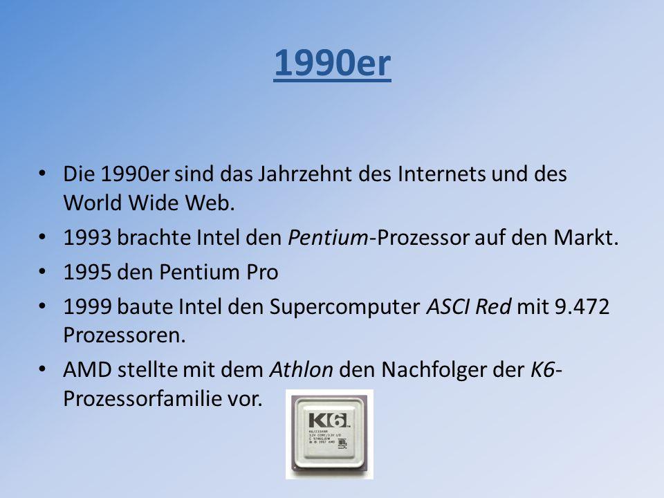 1990er Die 1990er sind das Jahrzehnt des Internets und des World Wide Web. 1993 brachte Intel den Pentium-Prozessor auf den Markt. 1995 den Pentium Pr