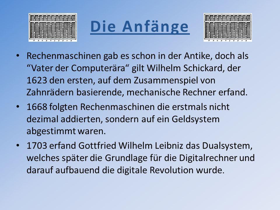 Die Anfänge Rechenmaschinen gab es schon in der Antike, doch als Vater der Computerära gilt Wilhelm Schickard, der 1623 den ersten, auf dem Zusammensp