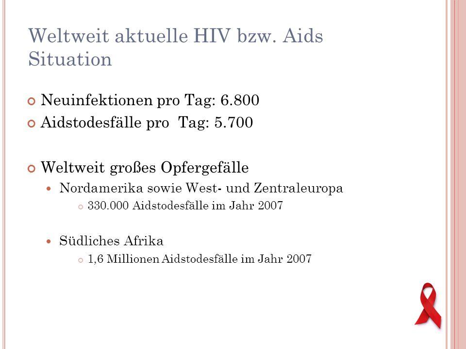 Neuinfektionen pro Tag: 6.800 Aidstodesfälle pro Tag: 5.700 Weltweit großes Opfergefälle Nordamerika sowie West- und Zentraleuropa 330.000 Aidstodesfä